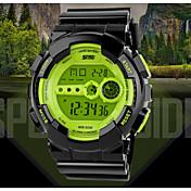 SKMEI Hombre Reloj Deportivo Digital Calendario Resistente al Agua Silicona Banda Negro Negro Naranja Verde