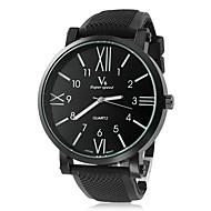 V6 Herren Armbanduhr Quartz Silikon Band Schwarz Schwarz