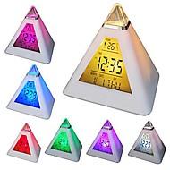 coway 7 geleid kleuren veranderen piramidevormige digitale wekker kalender thermometer nachtlampje