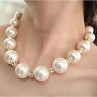 Dame Kort halskæde Perlehalskæde Bold Perle Rhinsten Legering kostume smykker Statement-smykker luksus smykker Smykker Til Bryllup Fest