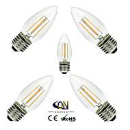 5 stuks ONDENN E26/E27 4 COB 400 LM Warm wit C35 edison Vintage LED-gloeilampen AC 220-240 / AC 110-130 V