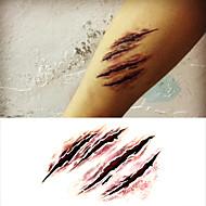 할로윈 공포 무서운 상처 문신 스티커 임시 문신 (1 개)