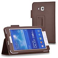 Varten Samsung Galaxy kotelo Tuella / Flip Etui Kokonaan peittävä Etui Yksivärinen Tekonahka Samsung Tab 4 7.0 / Tab 3 7.0 / Tab 3 Lite