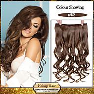5 klipp bølget honning brun (# 12) syntetisk hår klippet i hair extensions for damer flere farger