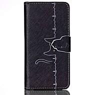 line kissa kuvio PU nahka tapauksessa korttipaikka ja seistä Samsung Galaxy S4 Mini / s3mini / s5mini / S3 / S4 / S5 / S6 / s6edge +