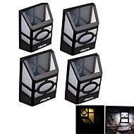 youoklight® 4 stuks high power 2x leds warm wit / wit licht zonne-lantaarn licht omheining lamp zonne muur gemonteerd licht