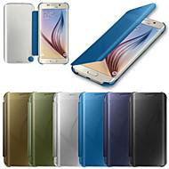 Για Samsung Galaxy Θήκη Θήκες Καλύμματα Αυτόματη αδράνεια / αφύπνιση Καθρέφτης Ανοιγόμενη Πλήρης κάλυψη tok Μονόχρωμη PC για SamsungS6