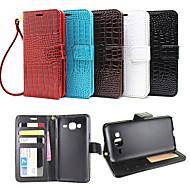 Na Samsung Galaxy Etui Portfel / Etui na karty / Z podpórką / Flip / Wytłaczany wzór Kılıf Futerał Kılıf Jeden kolor Skóra PU SamsungJ7