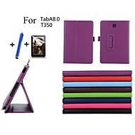Voor met standaard / Automatisch aan/uit / Flip hoesje Volledige behuizing hoesje Effen kleur Hard PU-leer Samsung Tab A 8.0