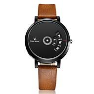 V6 Herren Armbanduhr Einzigartige kreative Uhr Quartz Leder Band Silber Weiß Braun Schwarz/Weiß Schwarz