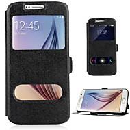 Voor Samsung Galaxy hoesje Hoesje cover met standaard met venster Flip Volledige behuizing hoesje Effen Kleur PU-leer voor SamsungJ7