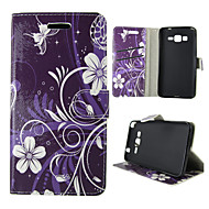 Mert Samsung Galaxy tok Kártyatartó / Pénztárca / Állvánnyal / Flip Case Teljes védelem Case Virág Műbőr SamsungTrend Duos / J5 / J1 /