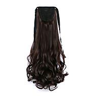 곱슬 어두운 갈색 합성 붕대 형 배 머리 가발 포니 테일