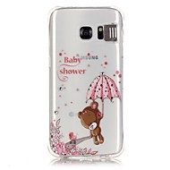 Voor Samsung Galaxy S7 Edge Strass LED-knipperlicht Transparant Patroon hoesje Achterkantje hoesje Cartoon Zacht TPU voor SamsungS7 edge