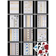 14 PCS 타투 스티커 쥬얼리 시리즈 / 꽃 시리즈 패턴 / 허리 아래 / Waterproof / 금속여성 / 남성 / 어른 / Teen 플래시 문신 임시 문신
