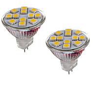 2kpl mr11 12led smd5050 2w dc12v 150-200lm lämmin valkoinen / viileä valkoinen spot -lamppu