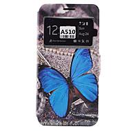 For Samsung Galaxy etui Kortholder Stødsikker Støvsikker Med stativ Etui Heldækkende Etui Sommerfugl Blødt Kunstlæder for SamsungA9(2016)