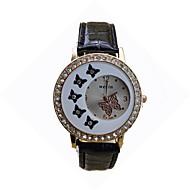 Dames Modieus horloge Vrijetijdshorloge / Kwarts Leer Band camouflage Vlinder Zwart Wit Rood Bruin