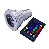 3W E14 / GU10 / B22 / E26/E27 LED Σποτάκια MR16 1 LED Υψηλης Ισχύος 110 lm RGB Με Ροοστάτη / Τηλεχειριζόμενο / Διακοσμητικό V 1 τμχ