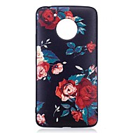 Voor motorola moto g5 plus case cover bloem patroon reliëf back cover soft tpu