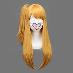 Perucas de Cosplay Fairy Tail Lucy Heartfilia Dourado Médio / Reto Anime Perucas de Cosplay 60 CM Fibra Resistente ao Calor Feminino