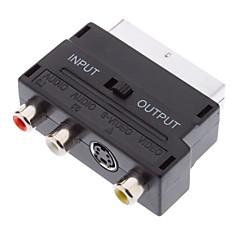 Scart 21-Pin Male naar S-Video + 3 RCA Female Adapter Black