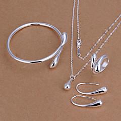 Mulheres Conjunto de Jóias Básico Moda Prata Chapeada Caído Lágrima Colares Brincos Anéis Bracelete Para Festa Aniversário Noivado Diário