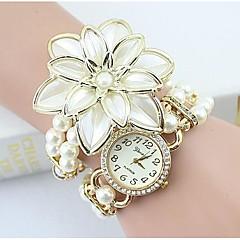 Dames Modieus horloge Armbandhorloge Gesimuleerd Diamant Horloge Kwarts imitatie Diamond Legering Band Bloem Parels Elegante horlogesWit
