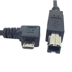 Standart b tipi yazıcı tarayıcı, sabit disk kablosu ücretsiz gönderim için 0.3m 1ft doğru açılı 90 derecelik mikro USB OTG