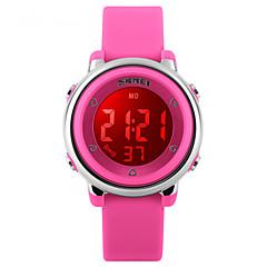 Infantil Relógio Esportivo Digital LED Calendário Impermeável Dois Fusos Horários alarme Relógio Esportivo Borracha BandaPreta Branco