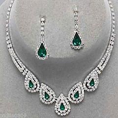 Női Ékszer készlet Függők Nyaklánc medálok elegáns Menyasszonyi Fesztivál/ünnepek jelmez ékszerek Drágakő Hamis gyémánt Lógó Naušnice