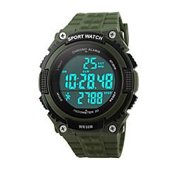 Herre Sportsur Armbåndsur Digital LED Kalender Kronograf Vandafvisende alarm Sportsur PU Bånd Sort Grøn Sort Grøn