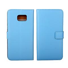 Varten Samsung Galaxy kotelo Lomapkko / Korttikotelo / Tuella / Flip Etui Kokonaan peittävä Etui Yksivärinen Aito nahka SamsungS6 edge