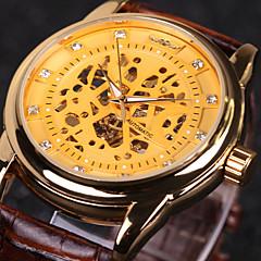 WINNER Αντρικά Ρολόι Καρπού μηχανικό ρολόι Αυτόματο κούρδισμα Εσωτερικού Μηχανισμού Δέρμα Μπάντα Πολυτελές Μαύρο ΚαφέΧρυσό Άσπρο/Μαύρο
