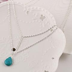 Dames Hangertjes ketting gelaagde Kettingen Drop Turkoois Modieus Birthstones Geboortestenen Eenvoudige Stijl Meerlaags Kostuum juwelen
