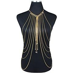 Dam Kroppssmycken Midjekedja Body Kedja / Belly Chain Harness halsband Guldpläterad övergång Toffsar Sexig Bikini Mode uttalande smycken