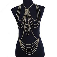 Dam Kroppssmycken Midjekedja Harness halsband Body Kedja / Belly Chain Sexig Europeisk övergång Multi lager kostym smycken Guldpläterad