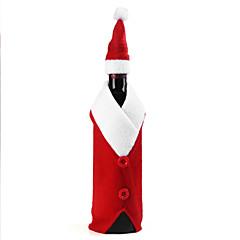 새 해 크리스마스를위한 크리스마스 와인 병 설정 산타 클로스 버튼 장식 병 커버 캡 옷 부엌 장식
