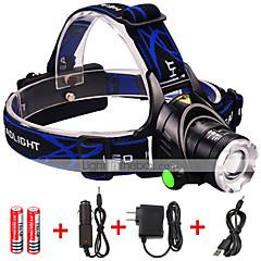 LED-Zaklampen LED 3000 Lumens 3 Modus Cree XM-L2 2 x 18650 batterijen Verstelbare focus Schokbestendig Oplaadbaar Waterbestendig Slagring