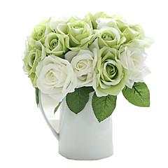 9pcs/Set 9 Κλαδί Μετάξι Τριαντάφυλλα Λουλούδι για Τραπέζι Ψεύτικα λουλούδια 9.5 inch