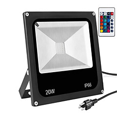 Ac85-265v 20w rgb távvezérlő színes kültéri vízhatlan fény projektor / led reflektor 1pc