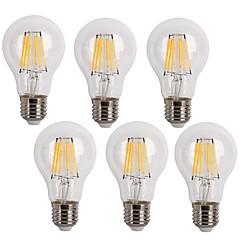 6W E26/E27 LED Λάμπες Πυράκτωσης A60(A19) 6 COB 600 lm Θερμό Λευκό / Ψυχρό Λευκό Διακοσμητικό AC 220-240 V 6 τμχ