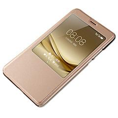 Mert Betekintő ablakkal Automatikus készenlét/ébresztés Case Teljes védelem Case Egyszínű Kemény Műbőr mert HuaweiHuawei P9 Huawei P9