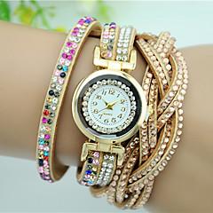 Dame Modeur Armbåndsur Quartz Imiteret Diamant Rhinsten Farverig Læder Bånd Blomst Charm Armbånd Sort Hvid Blåt Pink Mangefarvet Beige