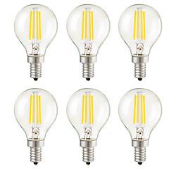 4W E14 E12 E26/E27 LED Λάμπες Πυράκτωσης G45 4 COB 400 lm Θερμό Λευκό Με Ροοστάτη Διακοσμητικό AC 220-240 AC 110-130 V 6 τμχ