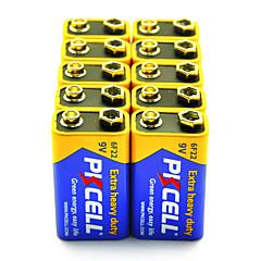 pkcell 6F22 9v ruskokiviparistoja akku 10 pack ylimääräisiä raskaita