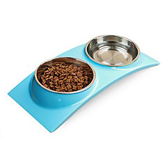 قط كلب الطاسات وزجاجات حيوانات أليفة السلطانيات والتغذية مقاوم للماء أخضر أزرق زهري
