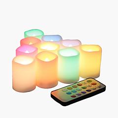 10 컬러 변경 멀티 컬러 flameless led 봉헌 촛불 원격 및 타이머