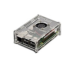 gennemsigtig akryl shell kan monteres ventilator og tre finner hindbær pi hindbær pi 2b / 1b +