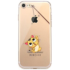 Voor iPhone X iPhone 8 Hoesje cover Patroon Achterkantje hoesje Spelen met Apple-logo Kat Zacht TPU voor Apple iPhone X iPhone 7s Plus